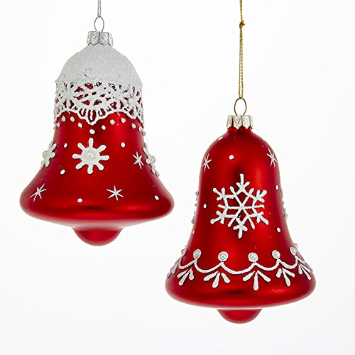 get quotations kurt adler 2 assorted glass red bells with white snowflake pattern christmas ornaments