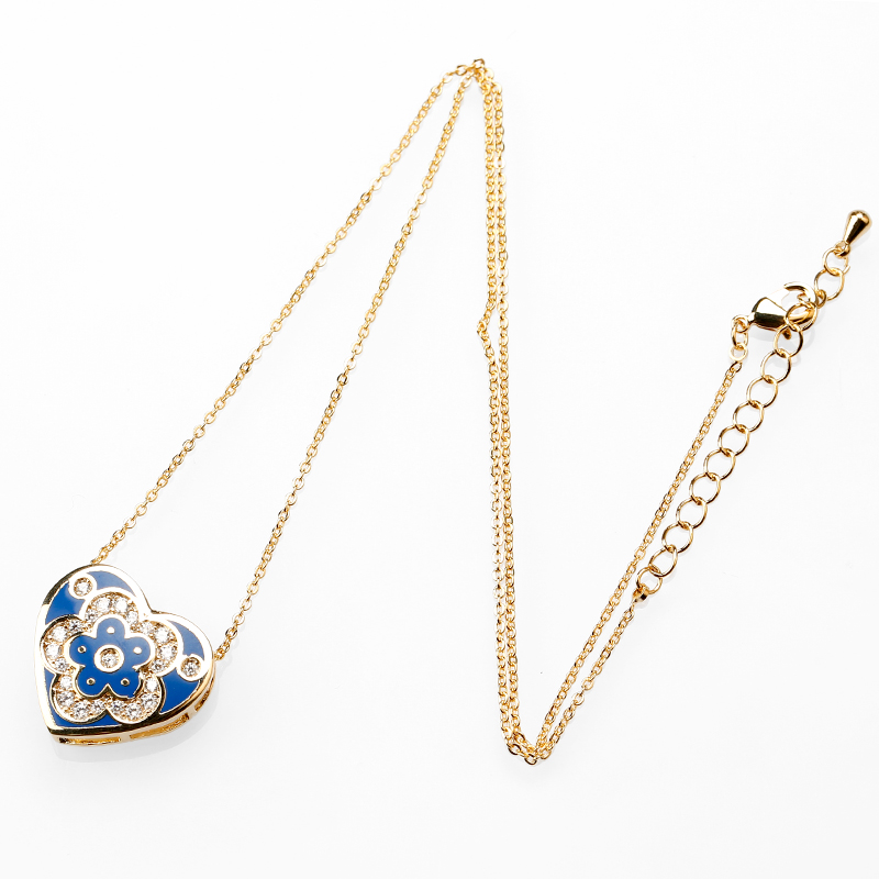 Fancy Gold Chain With Enamel Necklace,Real Gold Plated Necklace Jewelry