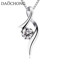 Factory Price S925 Sterling Silver Cubic Zirconia Twist Heart Pendant Necklace For Women