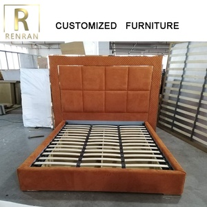 Italy luxury design latest modern metropolitan home furniture good quality orange bed romantic bedroom furniture