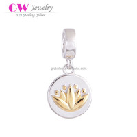 Sterling Silver Wedding Charms Gold Plated Flower Pendant For Create Your Own Bracelet