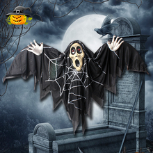 Halloween Scary Acoustic Electric Bats Hanging Ghost Toy Voice-activated LED Red Eyes Bat Ghost