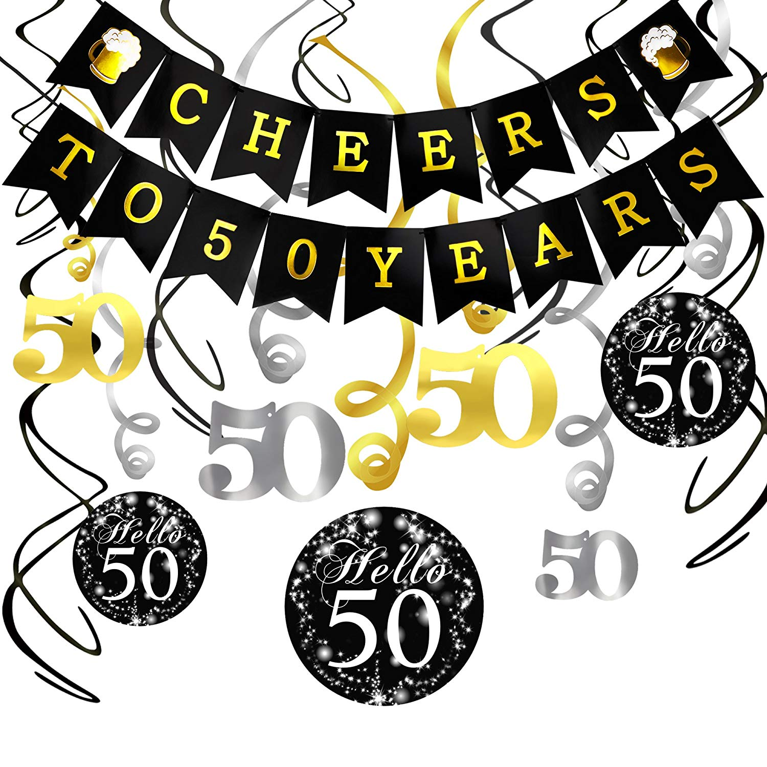 Get Quotations 50th Birthday Decorations Kit Konsait Cheers To 50 Years Banner Swallowtail Bunting Garland Sparkling Celebration