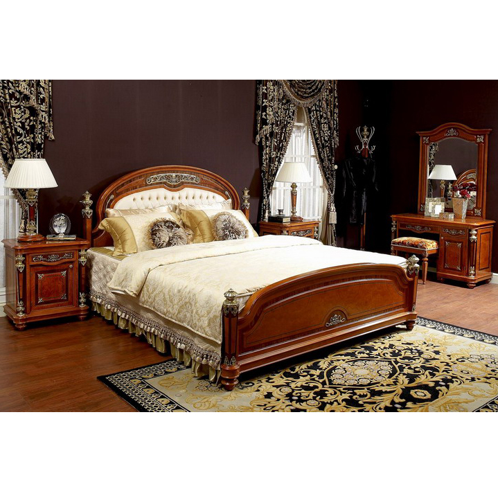 Yb29 New Model Design Italian Royal Baroque Style Luxury Solid Wood Bedroom Furniture For