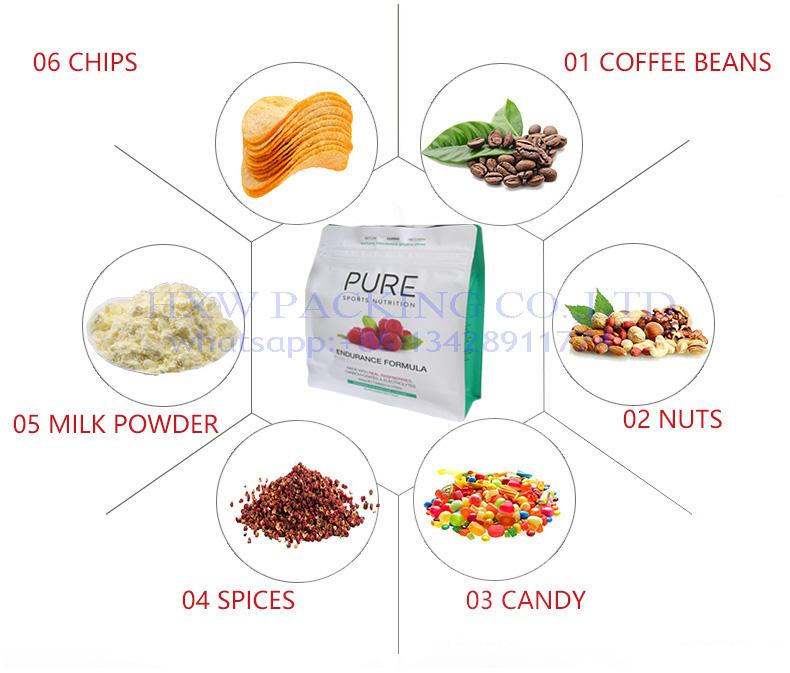 Free samples Food Grade box bottom side gusset Plastic Aluminum Foil Rice Flour packaging  Bag 1kg 2kg 5kg