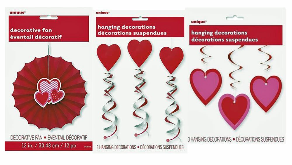 "Assorted Valentine's Day Decorations Bundle: 12"" Decorative Fan (1 Piece), 26"" Hearts Hanging Swirl Decorations (3) , and 26"" Double Hanging Swirl Red Hearts (3)"