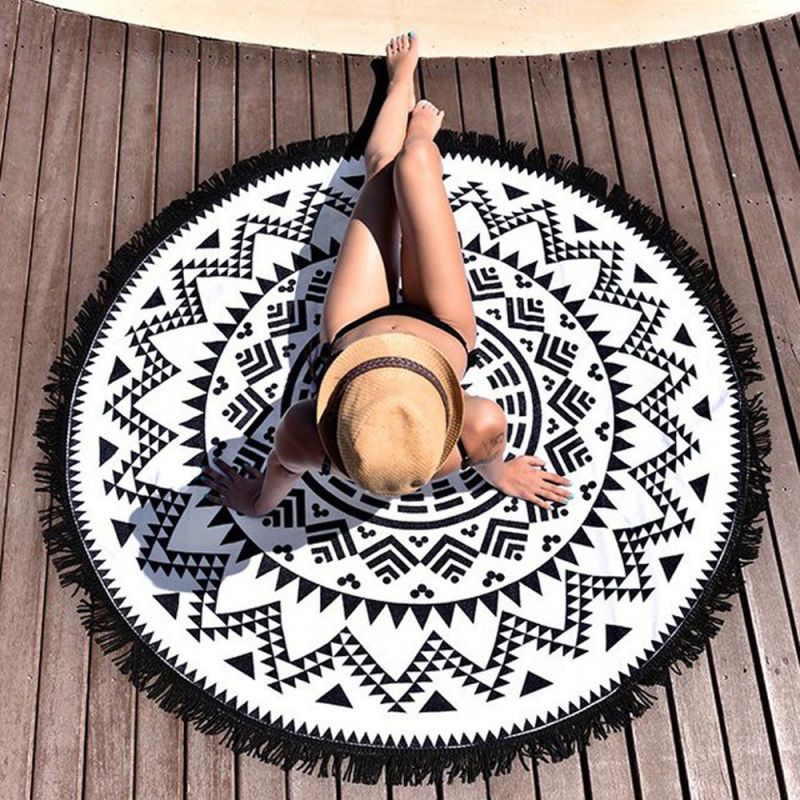 100/% Cotton Terry Velour 150cm Sand Repellent Round Beach Towel Throw in Black