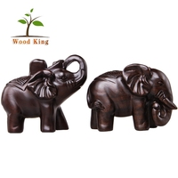 The Leather-Wood Animals Gift Small Wood Handicraft Dongyang Decorative Elephant Wood Carving Sculpture