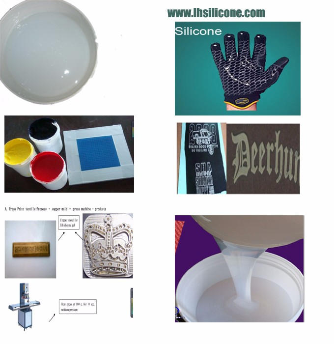 Elastic silicon ink for printing type, textile printing chemicals for logos