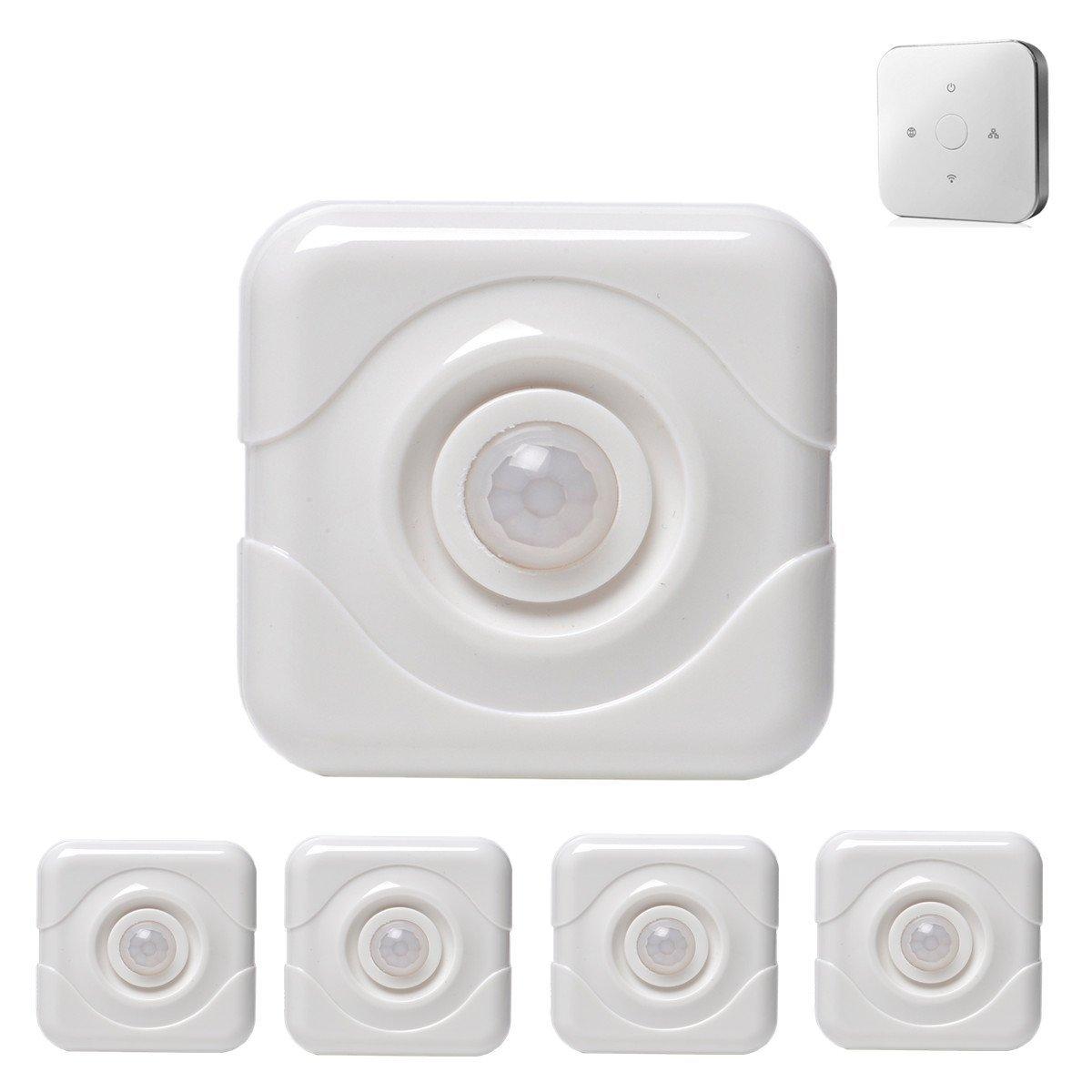 iHomeware Wireless PIR Motion Sensor, Zigbee Home Automation Sensor 5/pack with Gateway