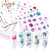 flowers cute static korean nail sticker Color rose water transfer printing nail sticker