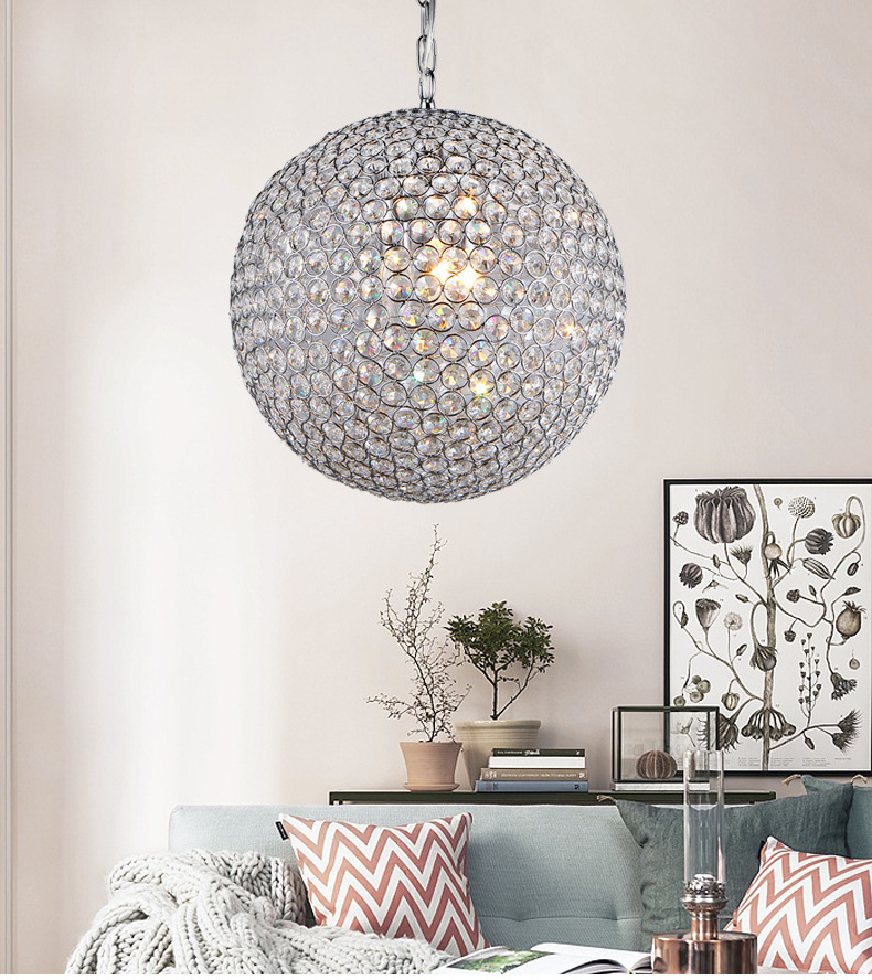 Water wafer crystal ball chandelier restaurant lamp modern minimalist creative living room lamp