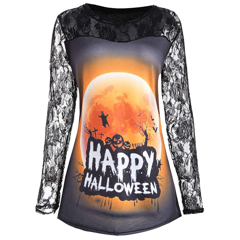 Nevera Happy Halloween Blouses for Women,Womens Long Sleeve Lace Patchwork Pumpkin T-Shirt Sweatshirt