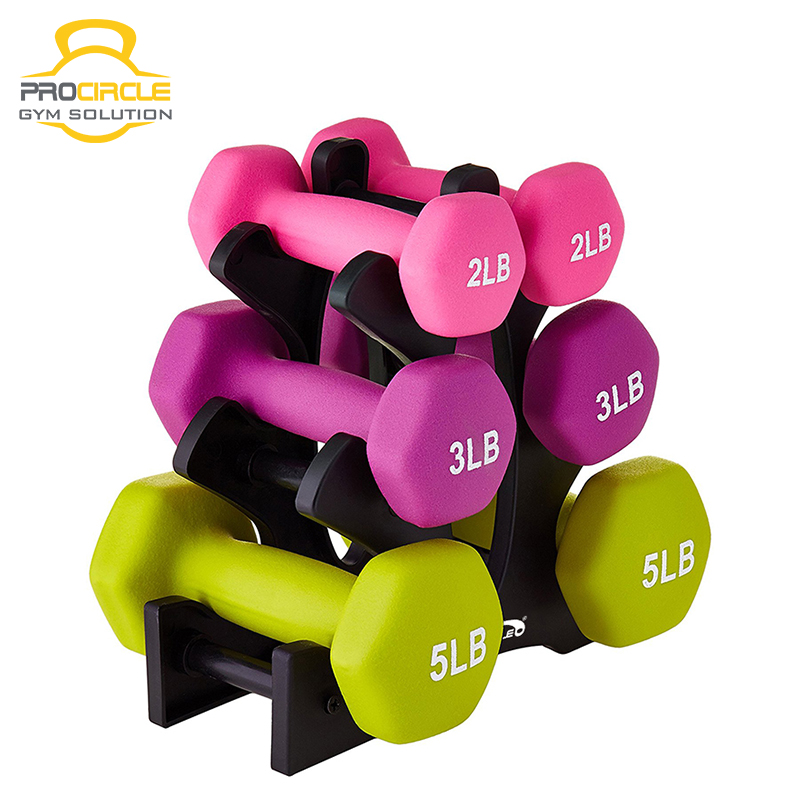 Wholesale high quality commercial rubber coated cast iron dumbbells
