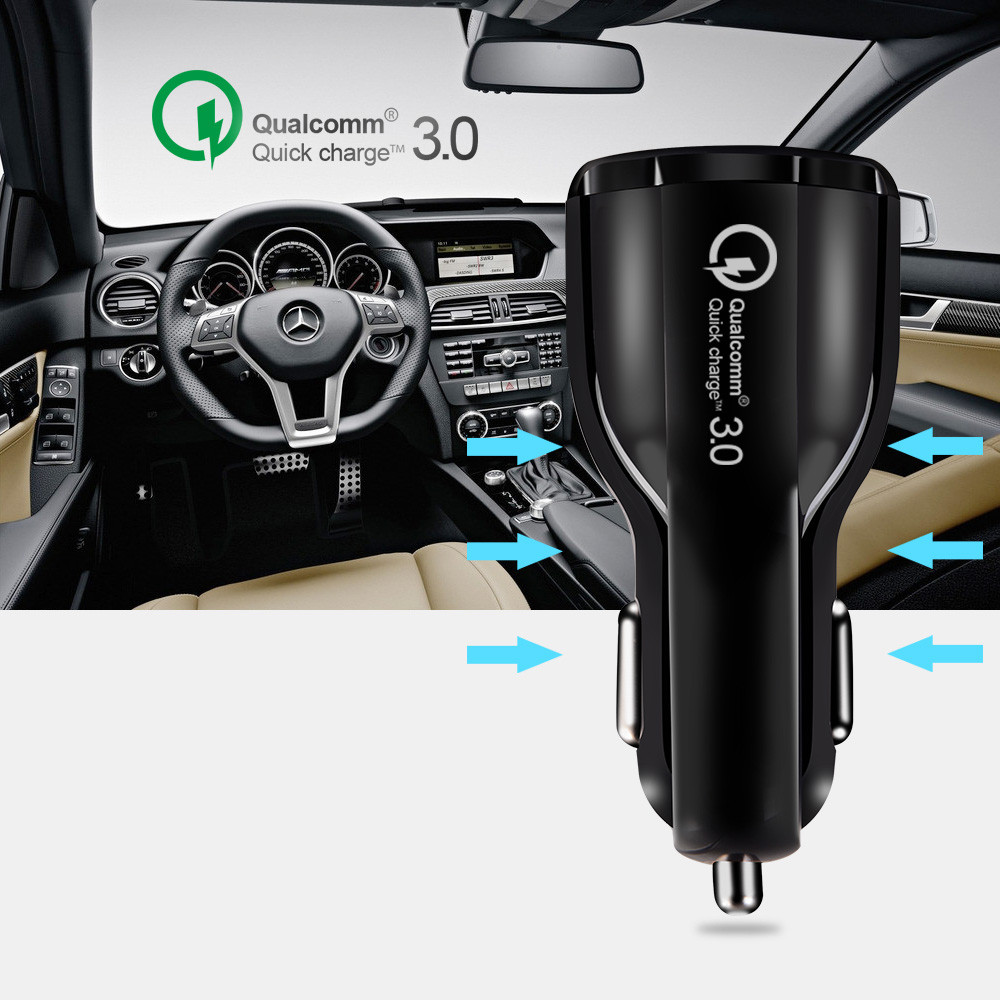 2019 Hot sell High Quality QC 3.0 Dual Usb Car Charger for Mobile Phone