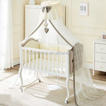 Clic Rococo Wooden Reproduction Tufted Baby Crib In Pure White Antique European Nursery Furniture Bf12 10214e