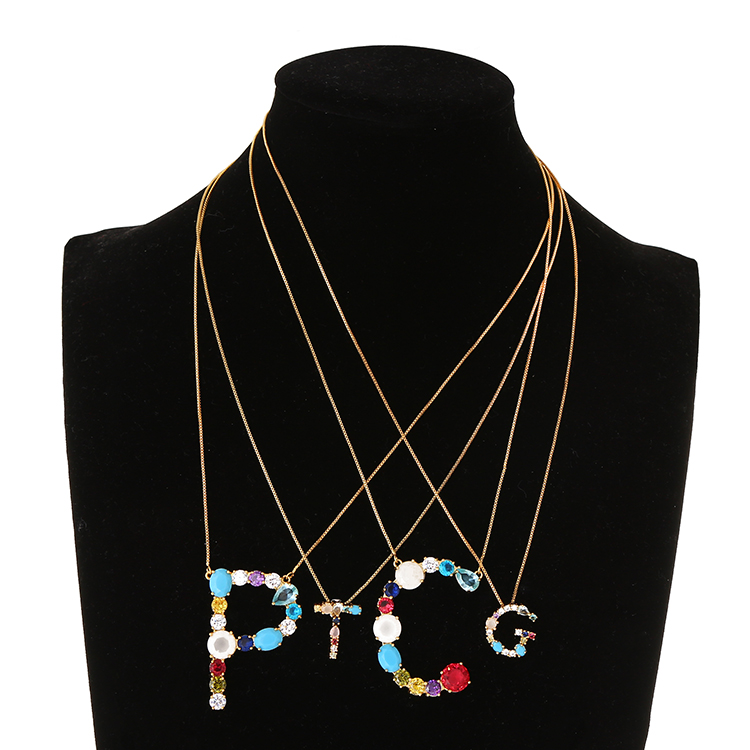 New fashion personalized gold plated pendant jewelry alphabet letter necklace, As the picture
