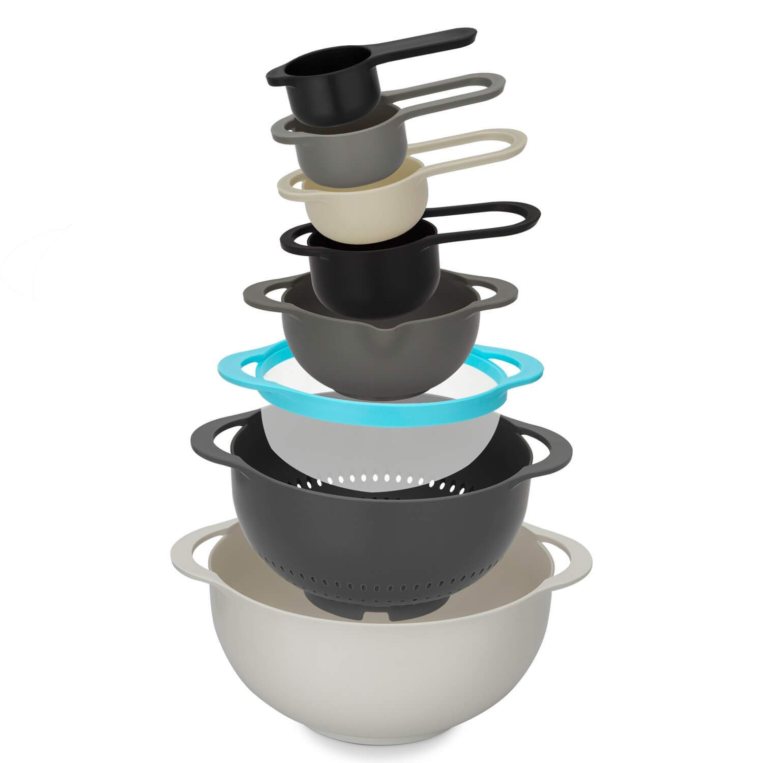 Homwe 8 Piece Plastic Mixing Bowl Set, Colander Strainer and Measuring Spoon Bundle Stackable, Nesting Mixers and Measure Kitchen Accessories | Baking & Cooking Use