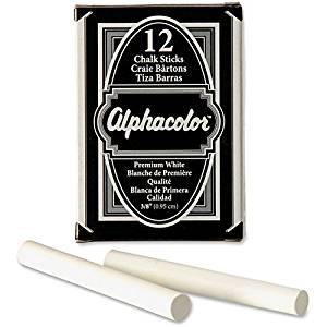 """Chalk Sticks, Low Dust, Nontoxic, 3-1/4""""x3/8"""", 12/PK, White - 2pc"""