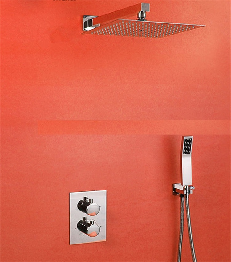 Shower Faucet Chrome Silver Wall Mounted Thermostatic Bathtub Faucet Round Rain Handheld Shower Bathroom Mixer Taps Se To Enjoy High Reputation At Home And Abroad Shower Equipment