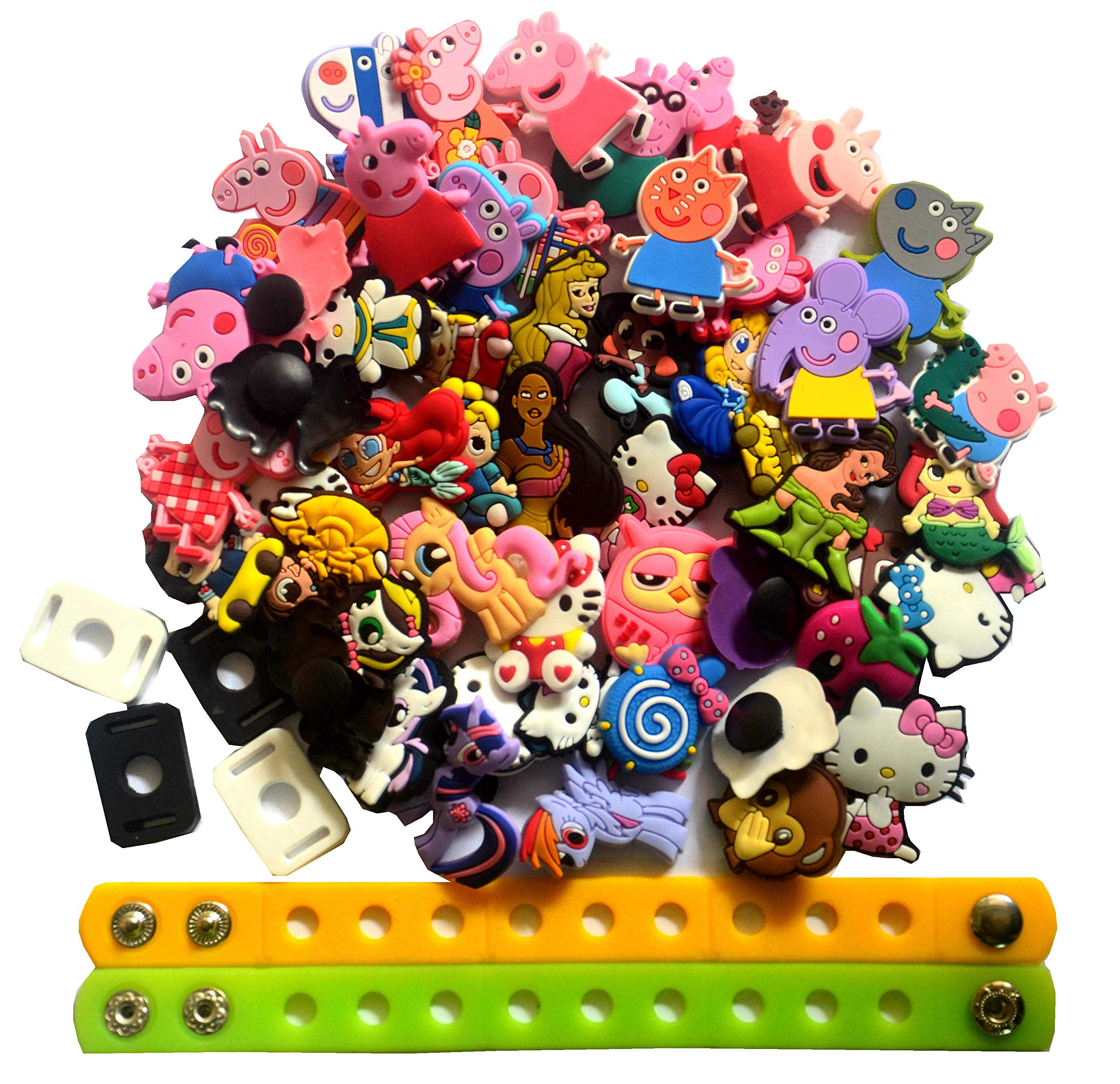 a17c6d238 Get Quotations · Lot of 52 PVC Different Shoe Charms for Croc   Jibbitz  Bands Bracelet Wristband for Girls