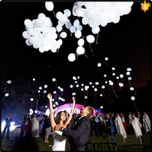 12 Inch White LED Light Latex Balloons For Wedding