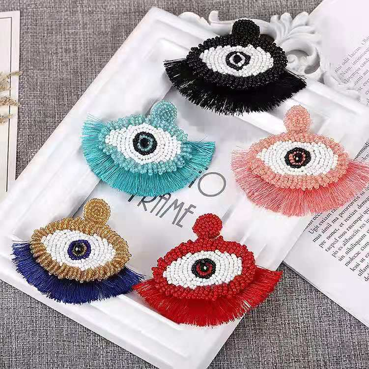 CM-xinyee Fashion New Designs Women Statement Eyes Tassel Earrings For Girls jewelry Accessories фото