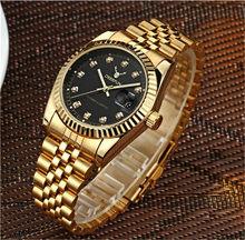 Новый бренд класса люкс Rolexable золотые часы для мужчин вращающийся ободок сапфировое стекло нержавеющая сталь ремешок для женщин кварцевые ...(Китай)