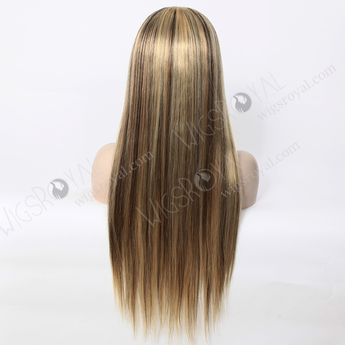 Long Straight Blonde Hair With Brown Highlight Human Hair Wigs Buy