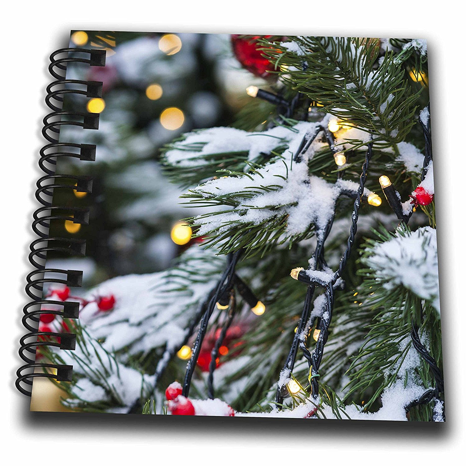3dRose Alexis Photography - Holidays Christmas - Christmas tree outdoor, snow, needles, lights, toys. Winter joy - Mini Notepad 4 x 4 inch (db_275970_3)
