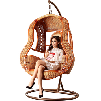 Charmant High Quality Classical Real Rattan Bamboo Cane Hanging Egg Chair Rock Chair  With Stand