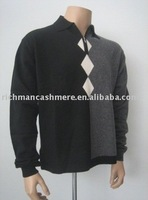 Jacquard Polo Cashmere Zip-Up Sweater