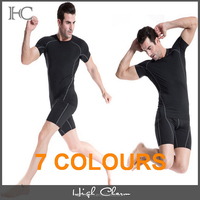 2017 plus size durable dry fit slim compression high elastic spandex breathable black gym short sleeve tee shirt top for men