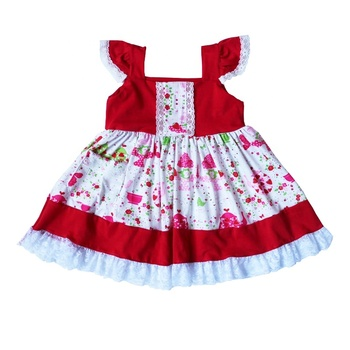 Vintage Style Red Floral Flutter Sleeveless Lace Girls Summer Wearing Party Weddings Dress Children Clothes Boutique