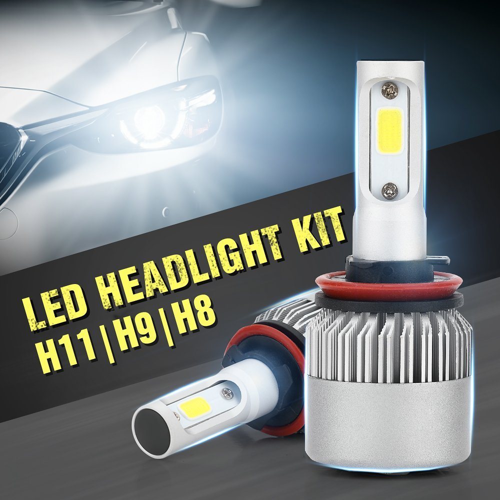 DOGOO H8 H9 H11 COB LED Headlight Conversion Kit, 80W 6000K 8000LM LED Headlight Bulbs Conversion Kit,Cool White (H8/H9/H11)