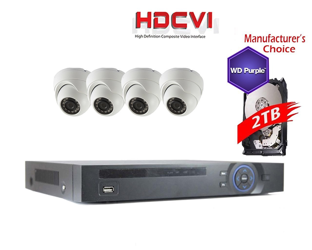 iCare 1080P Package: 8CH HDCVI DVR 2TB WD Purple HDD Pre-installed + 4 x 2MP IR Mini Dome Camera, 3.6mm, 2 years warranty, Local Support