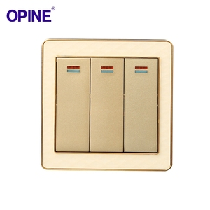 Modern style 3 gang 1 way lamp switches golden electric wall switch