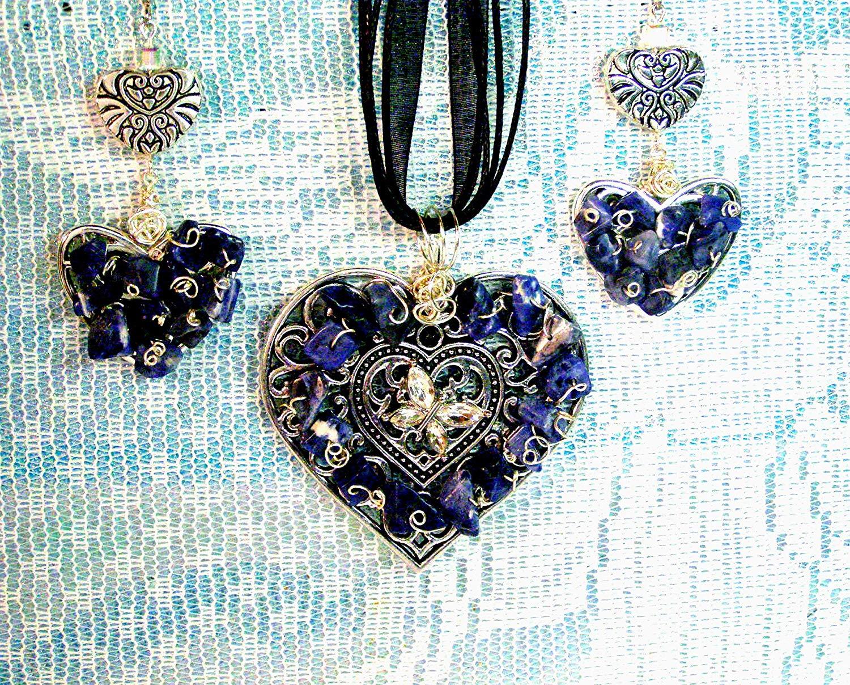 Silvertone Lapis Lazuli Necklace Pendant Large Blue Oval Teardrop Shape Pyrite Flecks
