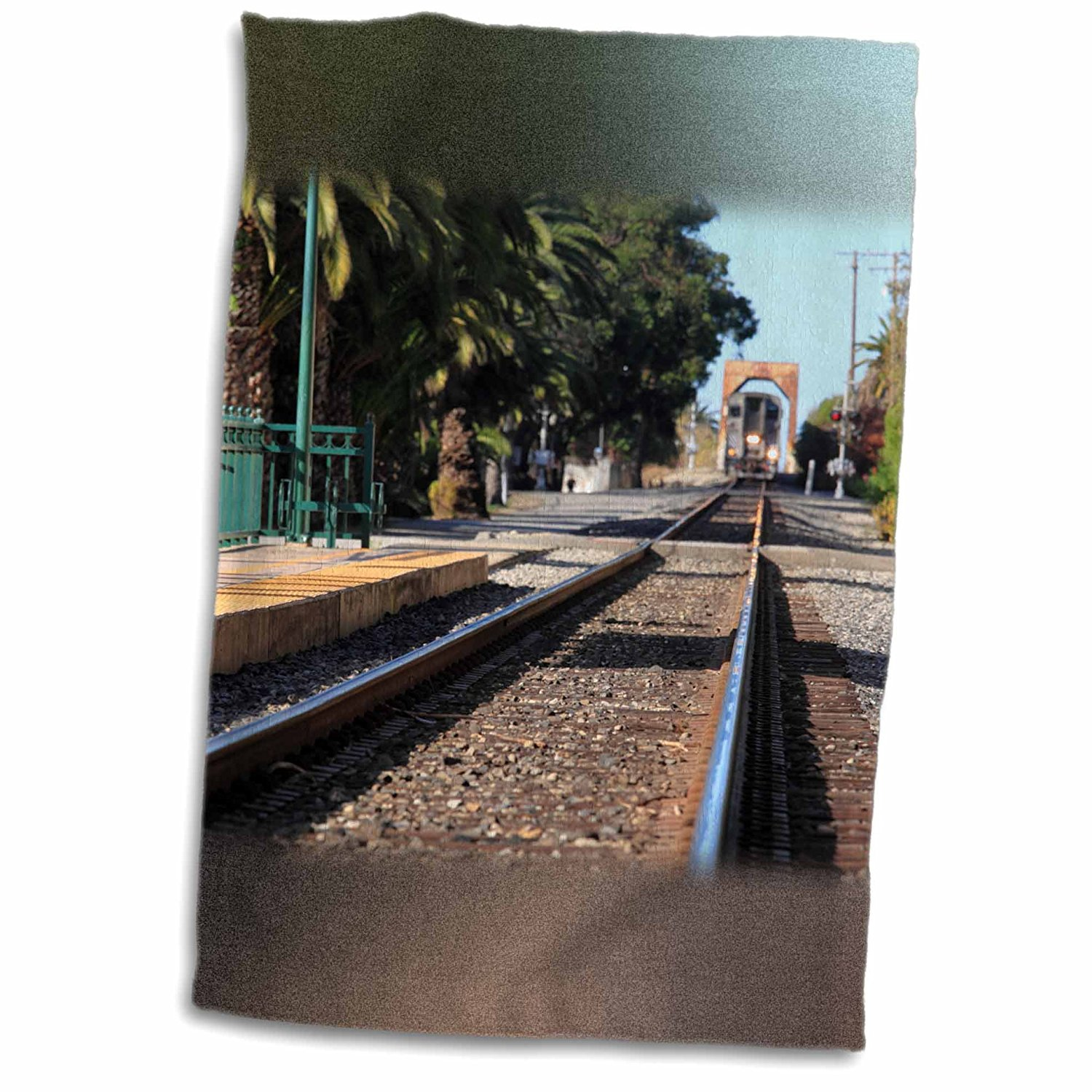 Henrik Lehnerer Designs - Transportation - Ventura Train Station California with a view of the tracks and train. - 11x17 Towel (twl_240389_1)