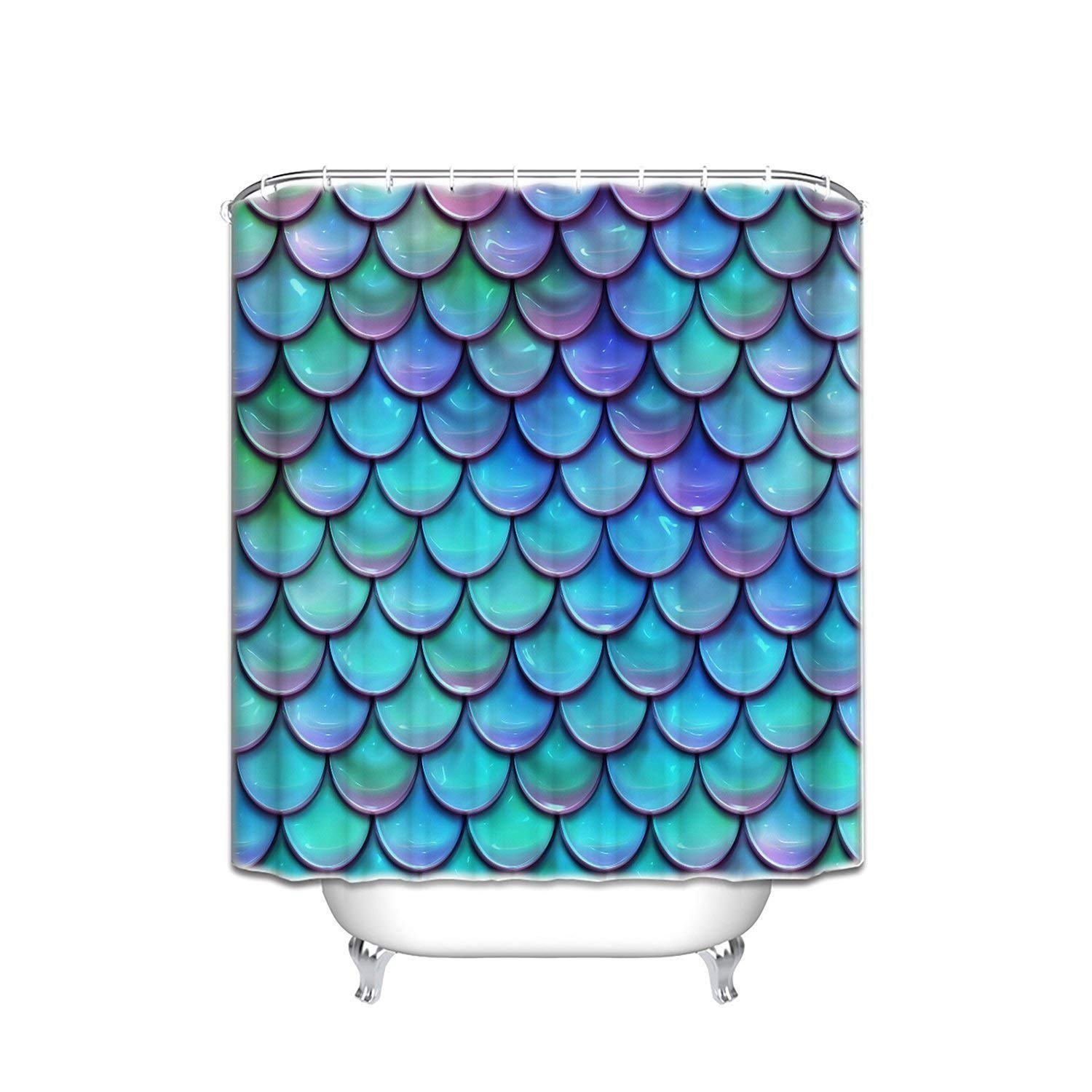 HOMESTORES mermaid Fish Scales Purple Blue Shower Curtain Decoration Mildew Waterproof Polyester Fabric Bathroom Shower Curtain with hooks 60x72 inches