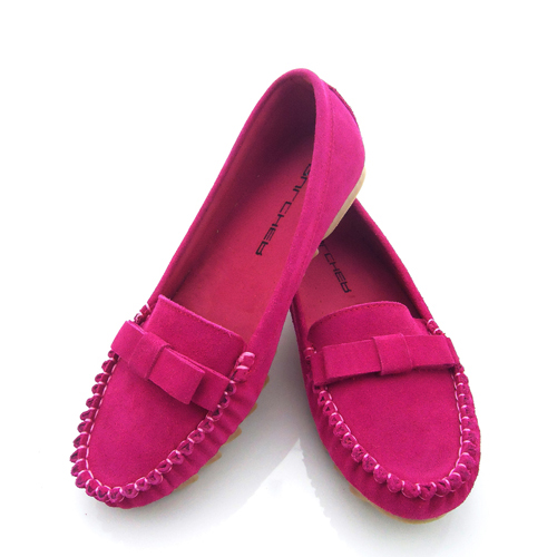 Hot new fashion cowhide nubuck genuine leather slip on plus size 35-43 women flats with bow round toe casual shoes