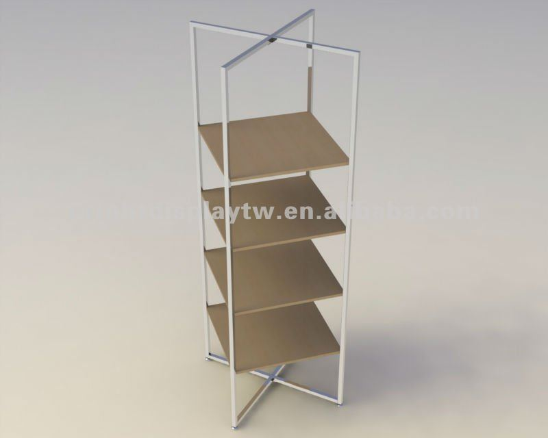 5 tier wooden display shelf stand Store fixture wooden shelf