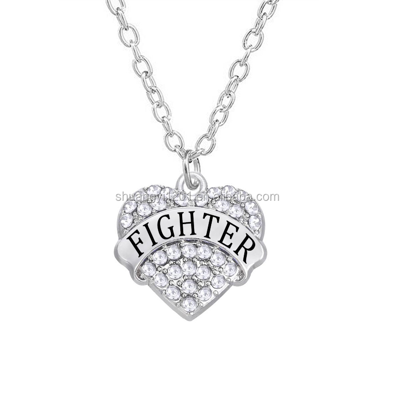 Wholesale Silver Fire Fighter full crystal heart shaped Charm Pendant Necklace