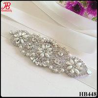 cheap crystal rhinestone bridal applique for wedding dress or wedding sash belt