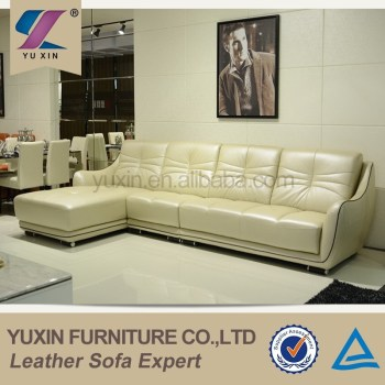 Exotic Living Room Cream Leather Corner Sofa Furniture,model Luxury Leather  Sofa