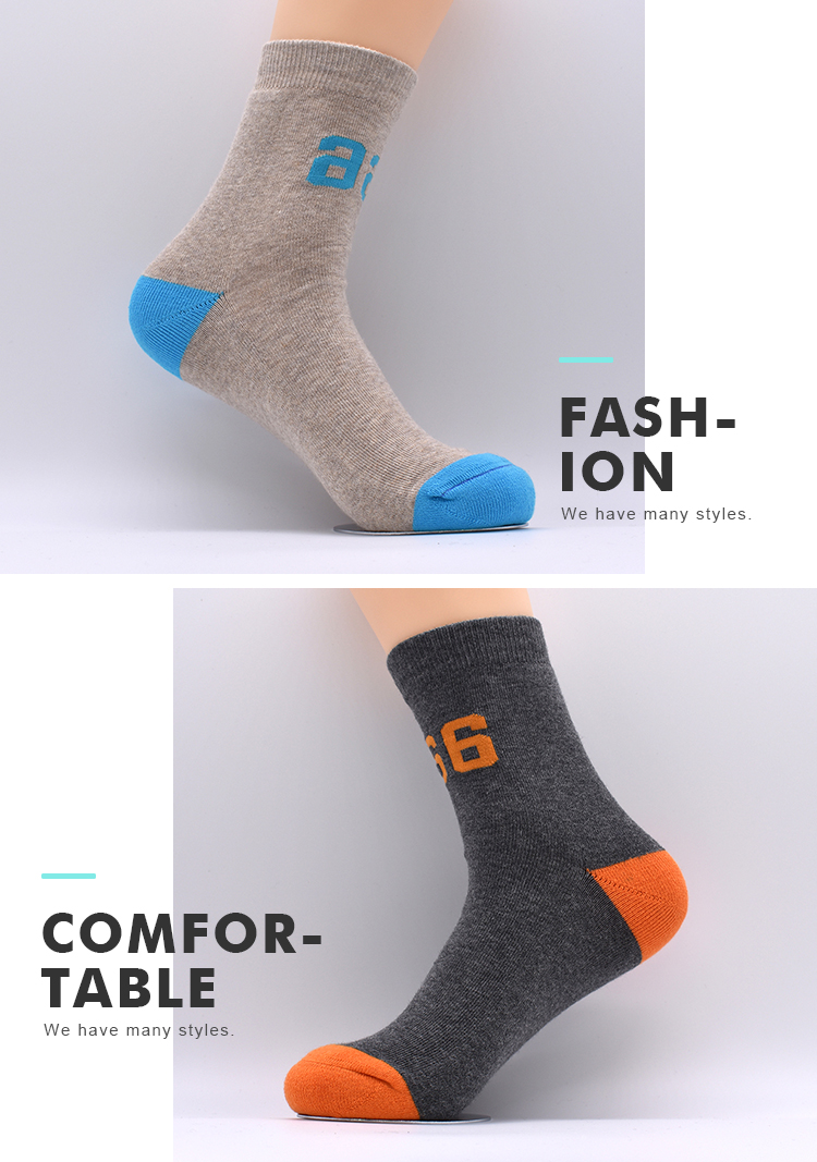 Wholesale Custom Cheap Warm Solid Color Combed Cotton Arch Cushion Cozy Business Crew Man Socks