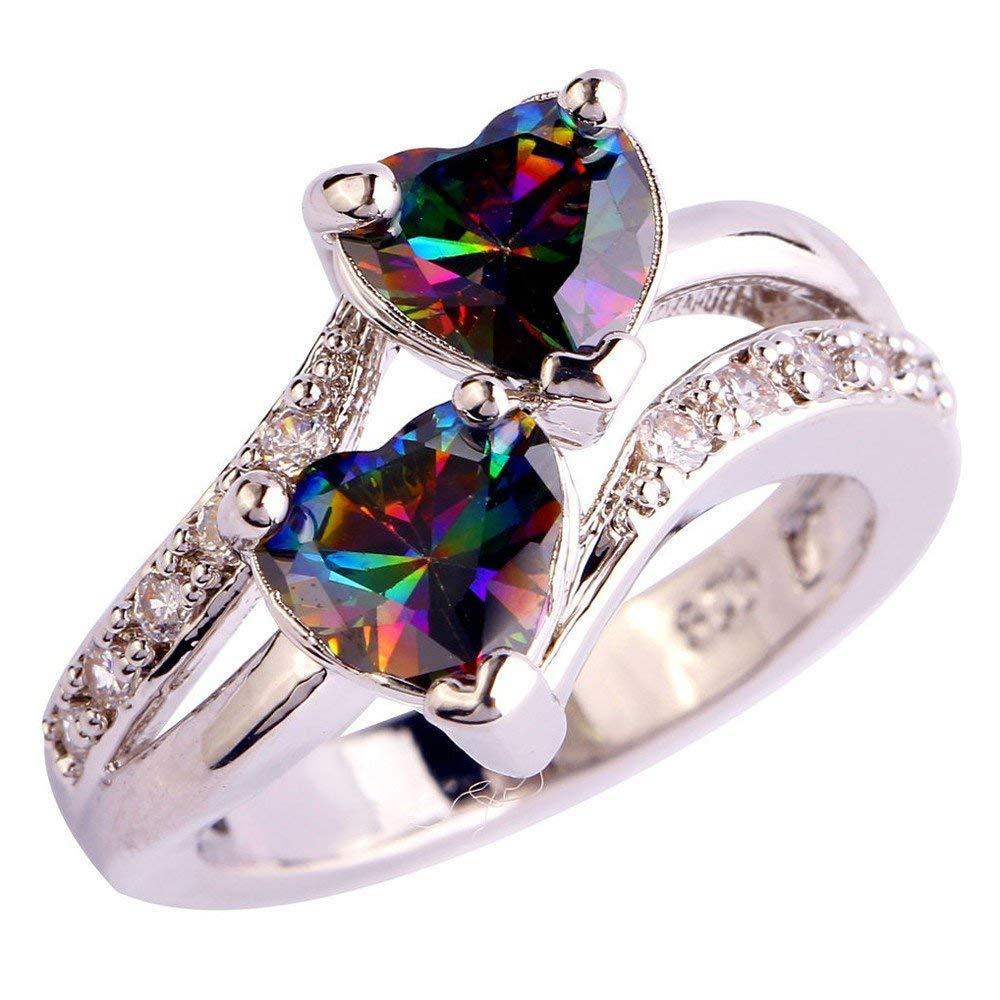 Fashion Ring,UMFun Women Rainbow Gemstone Personality Double Heart Ring Jewelry Popular on Ins