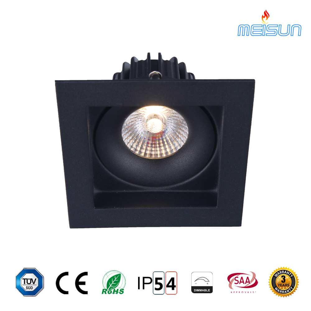 High quality deep recessed cree 10W square led <strong>downlight</strong> in black housing