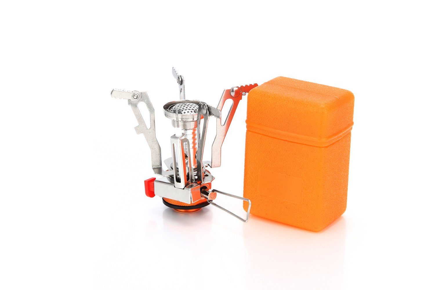 Ultralight Portable Collapsible 3000W Titanium Alloy Outdoor Backpacking Camping Stove Windproof Mini Gas Butane Cookware With Piezo Ignition For Outdoor Camping Backpacking Hiking Travelling Picnic