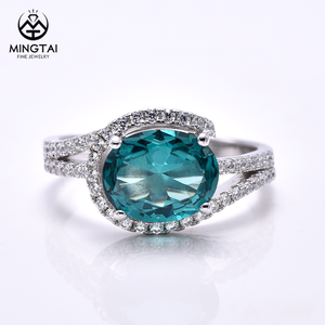 Micro pave setting Paraiba stone oval shape engagement rings, ladies vintage wedding rings